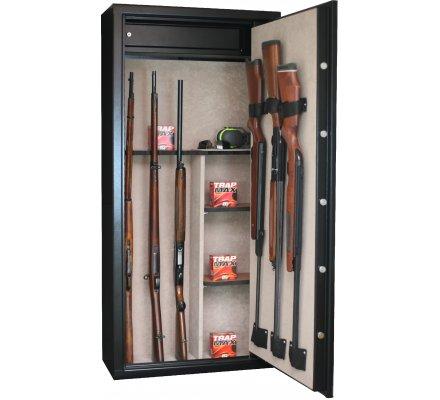 Armoire 11 armes avec lunette + 3 armes dans la porte et coffre intérieur avec étagères amovibles INFAC SAFE