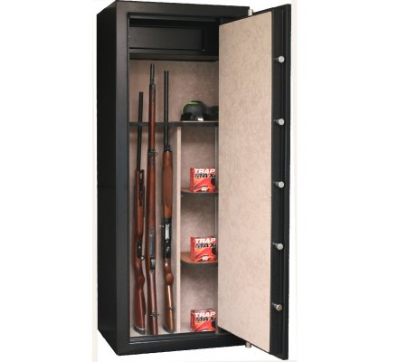 Armoire 18 armes avec lunette et coffre intérieur avec étagères amovibles