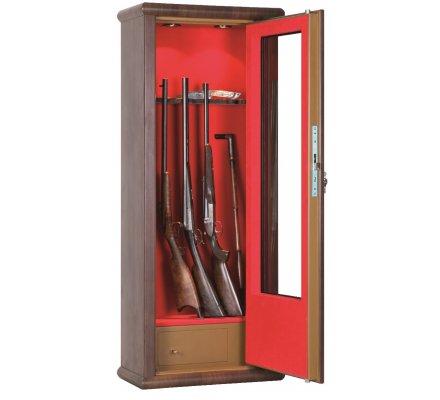 Armoire vitrine bois 10 armes avec lunette coffre intérieur et éclairage intérieur Infac Safe