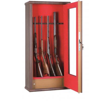 Armoire vitrine bois 12 armes avec lunette et coffre intérieur Infac Safe