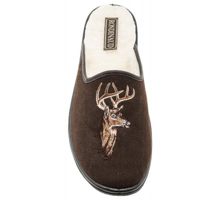 Chaussons marron motif cerf