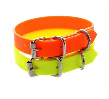 Collier PVC petit chien jaune fluo