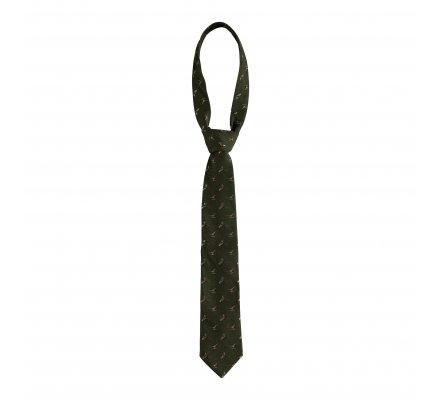 Cravate en soie kaki motif faisan Deerhunter