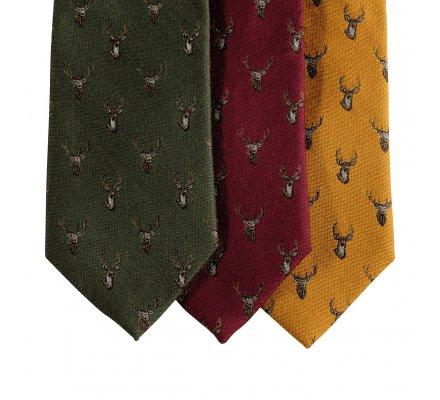 Cravate en soie Or motif cerf Deerhunter