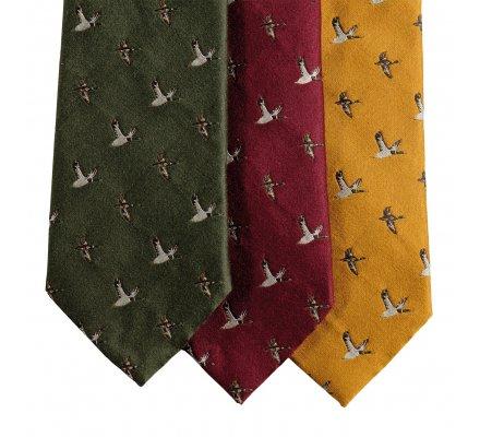 Cravate en soie kaki motif colvert Deerhunter