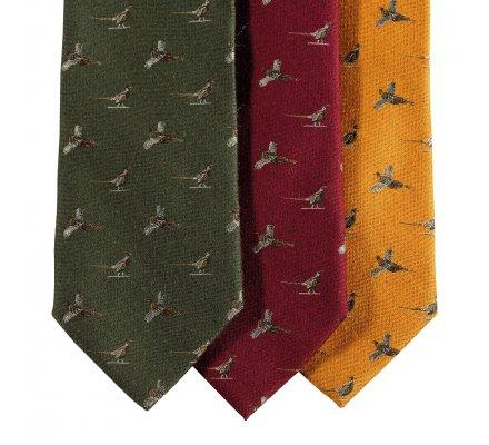 Cravate en soie rouge motif faisan Deerhunter