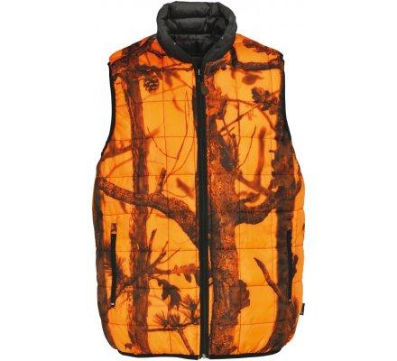 Doudoune de chasse sans manches matelassée orange Warm réversible Percussion