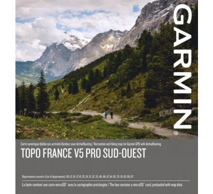 Carte Garmin TOPO FRANCE V5 PRO - SUD-OUEST