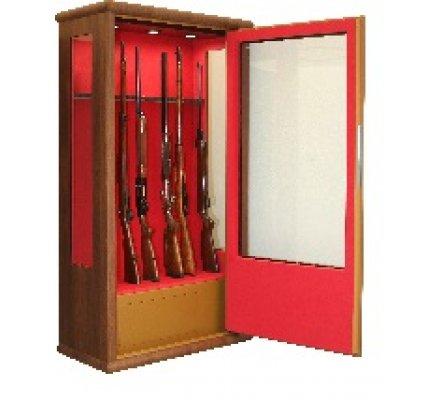 Armoire vitrine bois avec côtés vitrés pour 14 armes avec lunette coffre intérieur éclairage intérieur Infac Safe