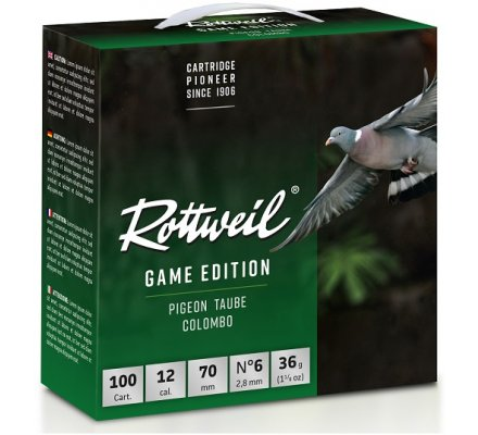 Pack 100 Cartouches Rottweil Game edition pigeon 36gr 12/70