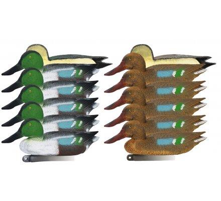 Pack 10 appelants canards souchets moussés mâle et femelle