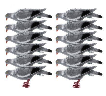 Pack 12 Appelants Pigeons floqués avec pattes qui picorent