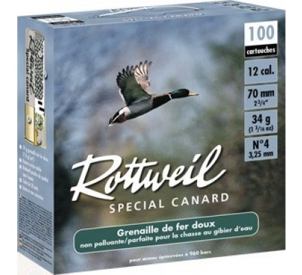 Pack de 100 cartouches Rottweil special canard 34 BJ cal 12