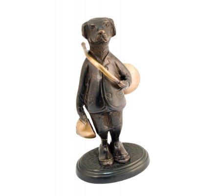 Statuette chien avec trompe de chasse en bronze