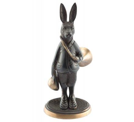 Statuette lièvre avec trompe de chasse en bronze