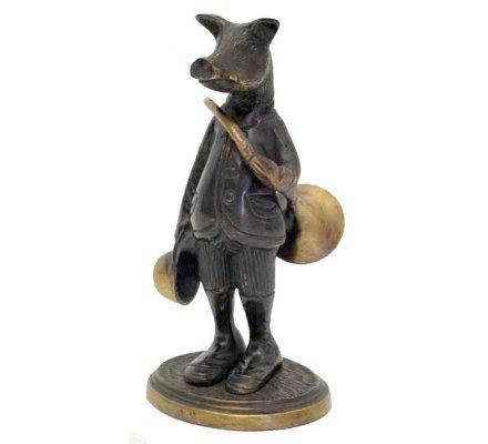 Statuette sanglier avec trompe de chasse en bronze