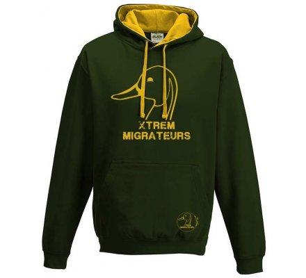 Sweat capuche Xtrem Migrateurs bicolore vert jaune