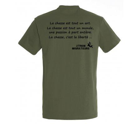 Tee-shirt kaki philosophie de la chasse XTREM MIGRATEURS