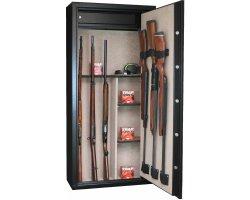 Armoire 11 armes avec lunette + 3 armes dans la porte et coffre intérieur avec étagères amovibles