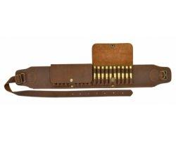 Cartouchière ceinture 20 balles cuir à rabats