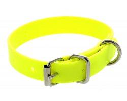 Collier PVC petit chien jaune fluo 1