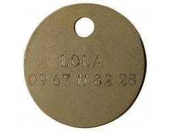 Médaille ronde gravée or 2.5 cm