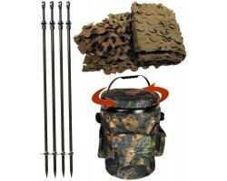 Pack affût filet de camouflage, siège de poste et piquets
