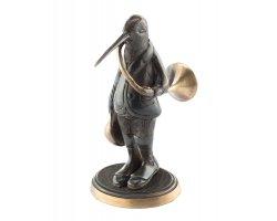 Statuette renard avec trompe de chasse en bronze