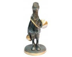 Statuette canard avec trompe de chasse en bronze