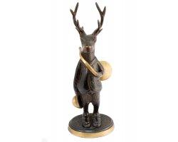 Statuette cerf avec trompe de chasse en bronze