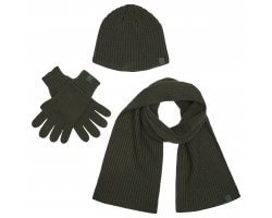 Set écharpe, gants et bonnet kaki DEERHUNTER