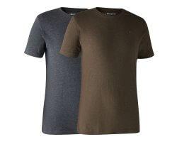 Lot de 2 tee-shirt bleu et marron DEERHUNTER