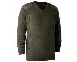 Pull en tricot col V Sheffield vert DEERHUNTER