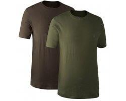 Lot de 2 tee-shirts kaki et marron Deerhunter