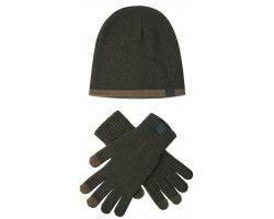 Kit bonnet et gants kaki DEERHUNTER