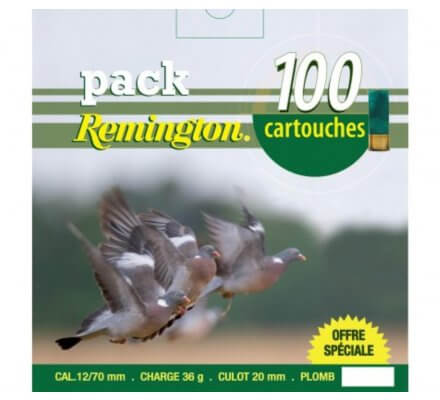 Pack 100 cartouches Remington pigeon 36 BJ cal 12
