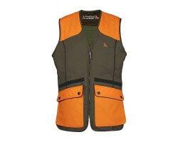 Gilet de chasse sans manches Grouse kaki et orange Pro Hunt
