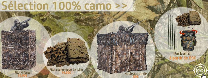 Hutteau et filets de camouflage