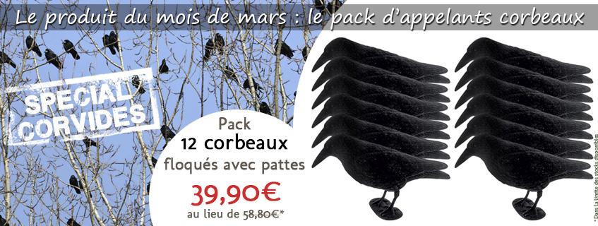 Le produit du mois de mars : le pack 12 appelants corbeaux floqués avec pattes
